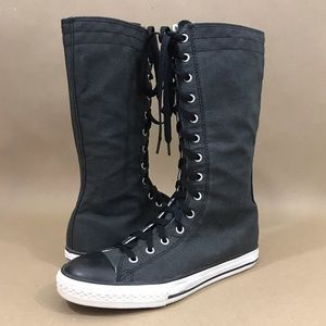 Converse All Star black bow xhigh tall big girl's